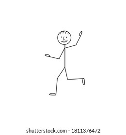 Funny little man pictogram running and waving isolated on a white background