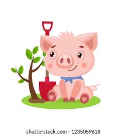 Funny Little Pig Vector. Cute Pig Gardener Funny Cartoon Animal Vector Illustration. Piggy Gardener's Supply.