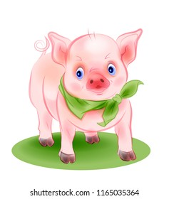 Funny little piggy is the symbol of 2019. Cartoon style.  Illustration for Chinese New Year is the year of the pig.