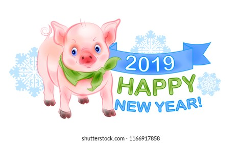 Funny  little piggy is the symbol of 2019. New Year design with pig and snowflakes. Chinese New Year is the year of the pig. Watercolor style.