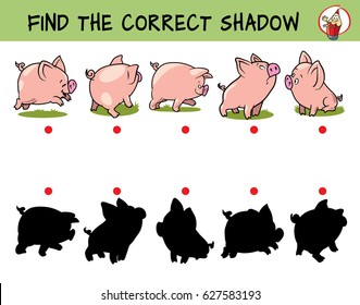 Funny little pigs. Find the correct shadow. Educational game for children. Cartoon vector illustration