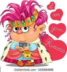 Funny little princess with hearts. Congratulations on Valentine's Day