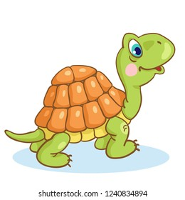 Funny little turtle in cartoon style isolated on a white background.