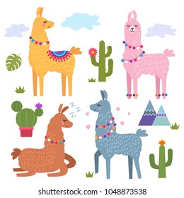 Funny llama alpaca with mountains and cactus. Children's background for print on textiles, T-shirt, stickers, greeting cards, laptops. flat vector