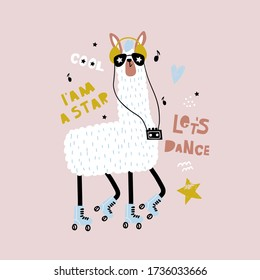 Funny Llama in glasses and roller skates. Childish print 80th for fabric, t-shirt, poster, card, baby shower. Vector Illustrtion