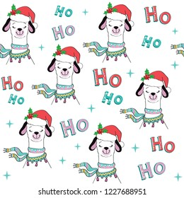 A funny llama in a santa claus hat says ho ho ho seamless pattern on a white background