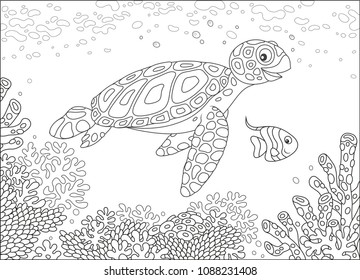 Funny loggerhead and a small butterfly fish swimming over corals on a reef in a tropical sea, black and white vector illustration in a cartoon style for a coloring book