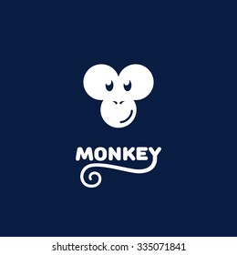 Funny logo design template with monkey face. Vector illustration.