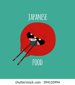 Funny logo for Japanese food. Red sun eating sushi. Vector illustration.