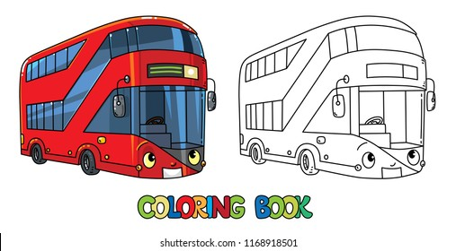 Funny London bus with eyes. Coloring book