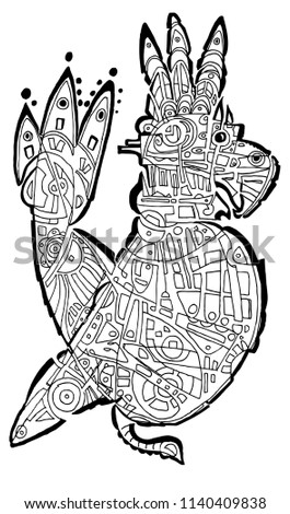Funny Looking Parrot Coloring Page Stock Vector Royalty Free