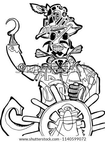 Funny Looking Pirate Coloring Page Stock Vector Royalty Free