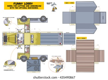 Funny Lorry - model for cutting and assembling. Low to middle level of difficulty. For best result print on A3 size paper.