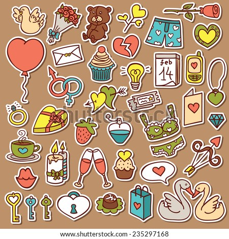 Funny Love Stickers Set Vector Doodle Stock Vector Royalty Free