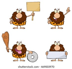 Funny Male Caveman Cartoon Mascot Character 8. Vector Collection Set