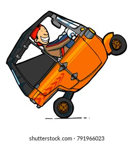 Funny man driving Indonesian auto rickshaw with high & full acceleration, side view - vector.