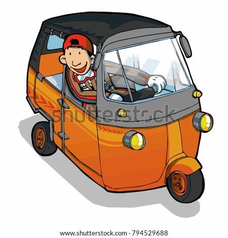 Funny Man Driving Indonesian Auto Rickshaw Stock Vector Royalty