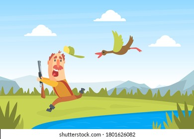 Funny Man Hunter Character Running away from Flying Duck Bird Cartoon Vector Illustration