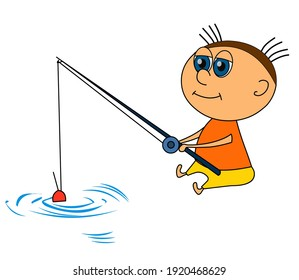 Funny man sitting with a fishing rod isolated on white background. The character is fishing. Illustration of a fisherman in a flat style with a black line. Vector.
