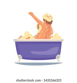 Funny Man Taking Bath and Washing with Washcloth, Male Character Relaxing in Bathtub Full of Foam Vector Illustration