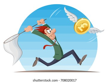 Funny man trying to catch pound sterling coin with a butterfly net. Cartoon styled vector illustration. Elements is grouped and divided into layers. No transparent objects.