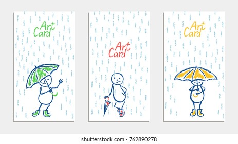 Funny man with umbrella and rain card set. Wax crayon pencil or pastel chalk like kid`s hand drawn. Vector cartoon comic characters with autumn rain shower flood. Like child`s painting art background