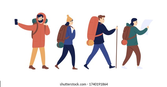 Funny man and woman with backpack going camping together vector flat illustration. Group of hiker people holding map and taking selfie use smartphone isolated on white. Joyful hiking person