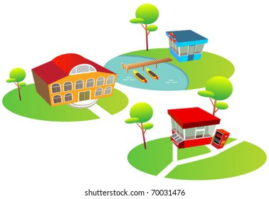 funny map elements: trees, boating station, hotel, stall food. (set 5)