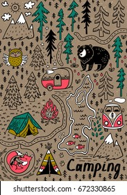 Funny map seamless pattern with nature, landscape, camping and cute animals in the forest. Hand drawn vector illustration