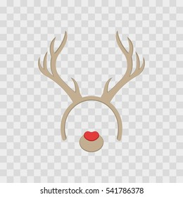 Funny mask with Christmas reindeer horns isolated on transparent checkered, vector illustration. Cartoon Cute Headband with Ears