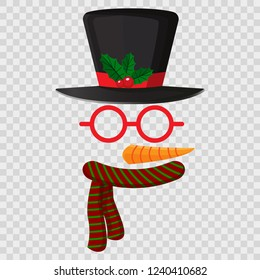 Funny mask with Snowman (Chirstmas theme) isolated on transparent. Christmas and New Year photo booth party. Vector illustration
