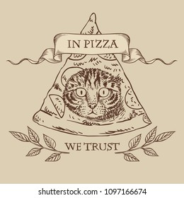 Funny masonic symbol with pizza and cat. Vector template for t-shirt print, sticker, greeting card and other designs