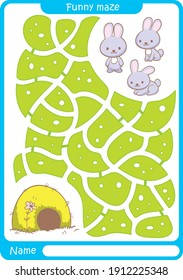 Funny maze. Bubby. Preschool worksheet. Illustration and vector outline - A4 paper ready to print.