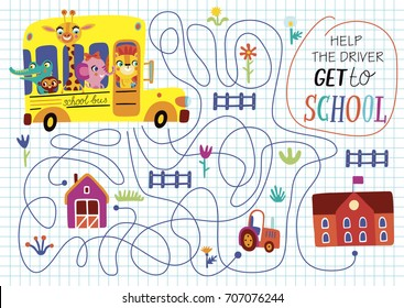 Funny maze for children. Back to school. Cartoon illustration on a white background.