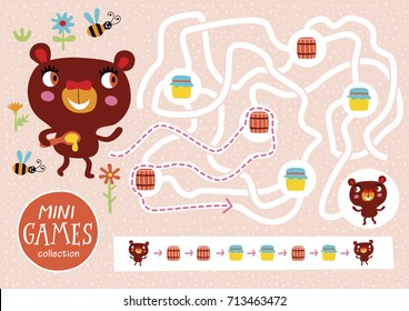 Funny maze for children. Feed the bear. Mini games collections.