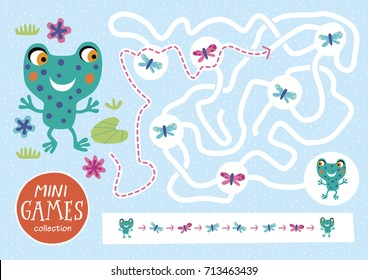 Funny maze for children. Feed the frog. Mini games collections.
