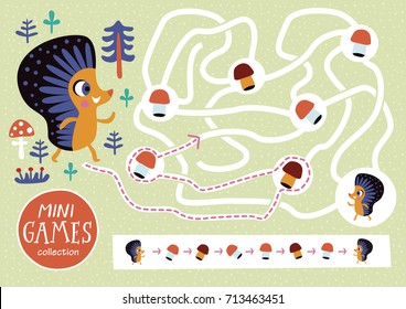 Funny maze for children. Feed the hedgehog. Mini games collections.