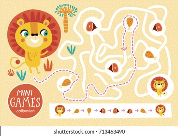 Funny maze for children. Feed the lion. Mini games collections.