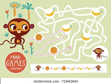 Funny maze for children. Feed the monkey. Mini games collections.