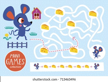 Funny maze for children. Feed the mouse. Mini games collections.