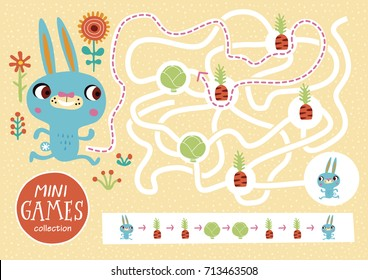 Funny maze for children. Feed the rabbit. Mini games collections.