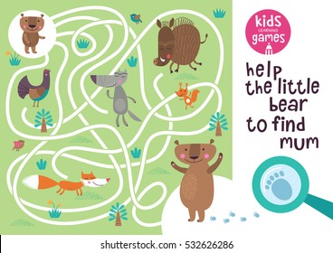 Funny maze for children. Help the bear to find mum. Kids learning games collection.