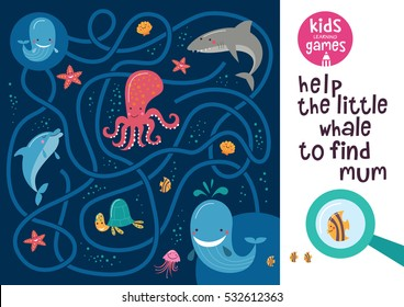 Funny maze for children. Help the little whale to find mum. Kids learning games collection.