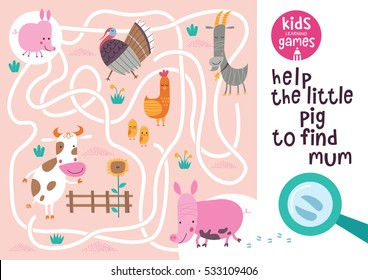 Funny maze for children. Help the little pig to find mum. Kids learning games collection.