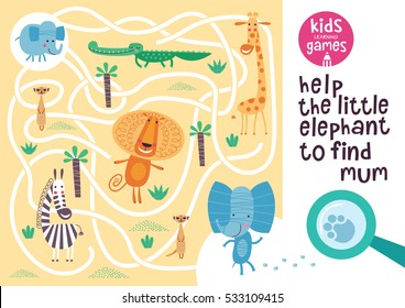 Funny maze for children. Help the little elephant to find mum. Kids learning games collection.