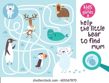 Funny maze for children. Help the little bear to find mum. Kids learning games collection.