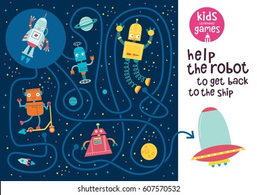 Funny maze for children. Help the robot to get back to the ship. Kids learning games collection.