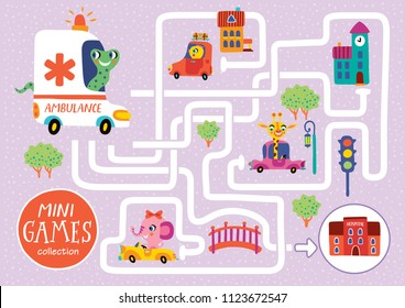 Funny maze for children. Help the snake to take patient to the hospital. Mini games collection.