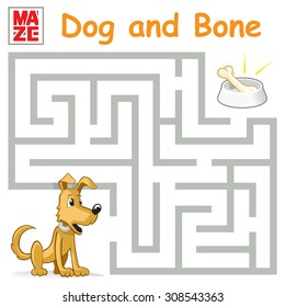 Funny Maze Game: Help the Cartoon Dog Find the Bone. Vector Illustration