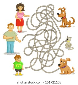 Funny maze game: help owners find their pets! Man, woman, boy, cat and two funny dogs. Illustration with tangled lines.